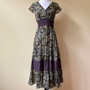 Jane Ashley Floral Boho Cap Sleeve Maxi Dress